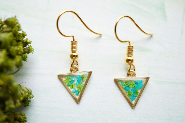 Real Pressed Flowers and Resin Drop Earrings, Gold Triangles in Teal Green
