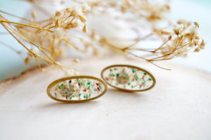 Real Pressed Flowers and Resin Stud Earrings, Gold Ovals in Teal Rose White