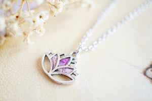 Real Pressed Flowers in Resin, Silver Lotus Necklace in Pinks