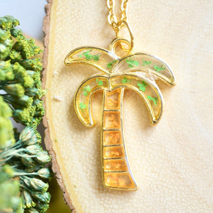 Real Pressed Flowers in Resin, Gold Palm Tree Necklace in Green and Orange