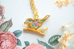 Real Pressed Flowers in Resin, Bronze Bird Necklace in Yellow and Light Pink