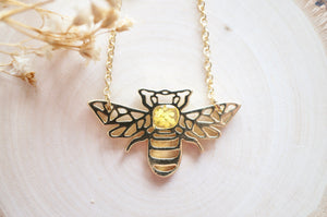 Real Pressed Flowers in Resin, Gold Bee Necklace in Yellow