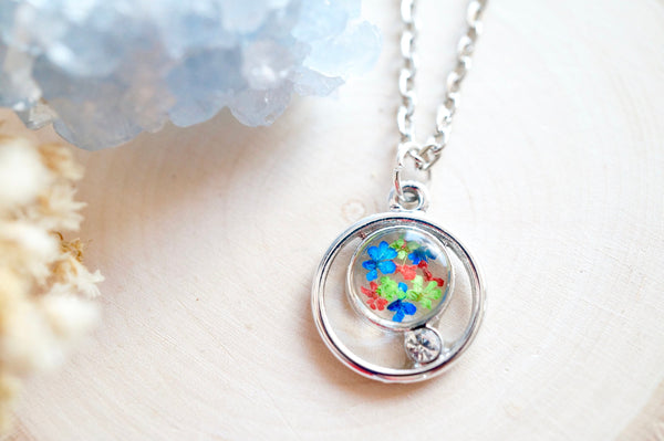 Real Pressed Flowers in Resin, Silver Circle Necklace in Blue Green Red
