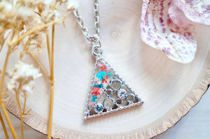 Real Pressed Flowers in Resin, Silver Triangle Necklace in Red Teal Light Pink