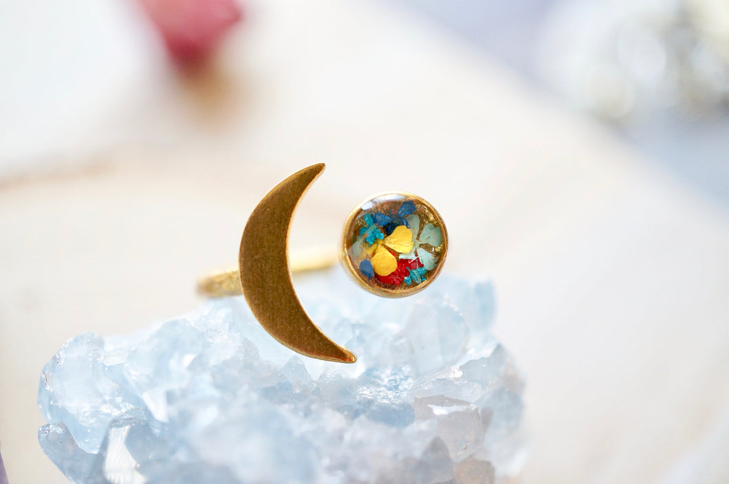 Real Pressed Flower and Resin Ring, Gold Celestial Moon in Mint Teal Blue Red Yellow