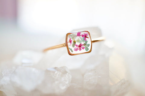 Real Pressed Flower and Resin Ring, Gold Band in Mint and Pink