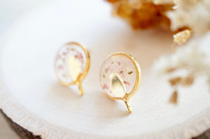 Real Pressed Flowers and Resin, Gold Bird Stud Earrings in White and Light Pink