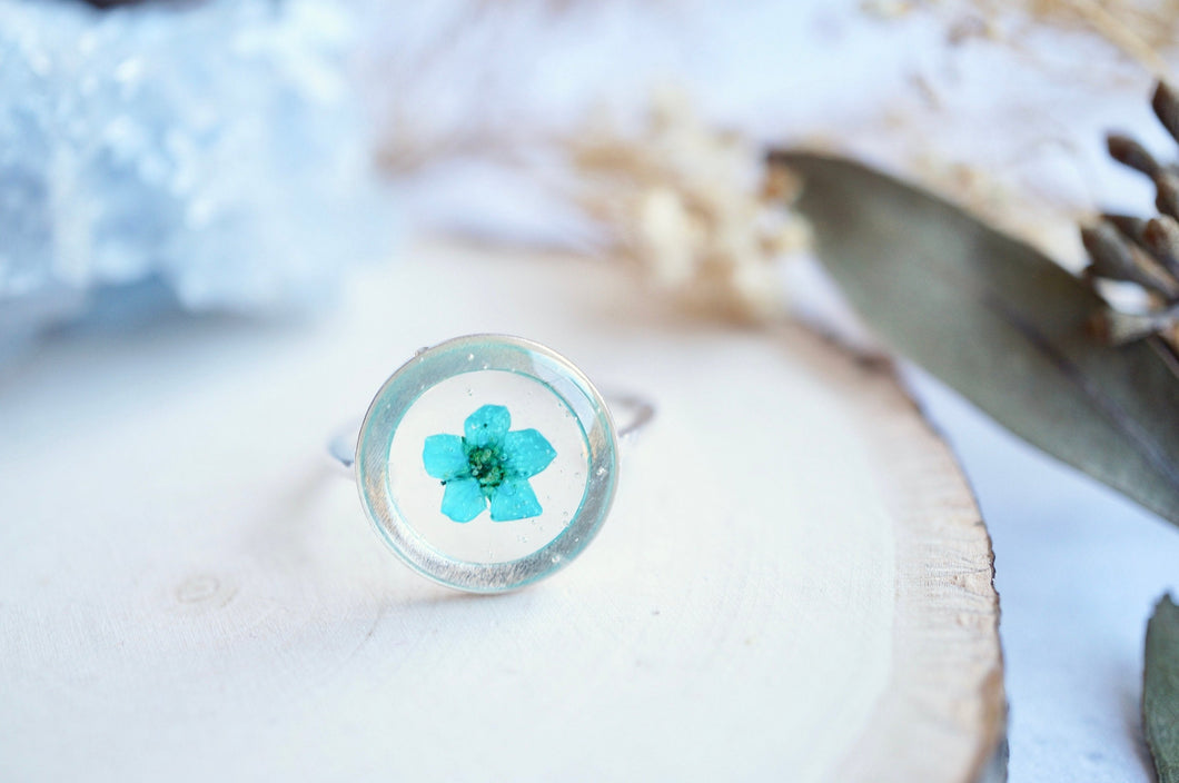 Real Pressed Flower and Resin Ring, Adjustable Silver Circle in Teal