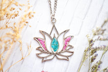 Real Pressed Flowers in Resin, Silver Lotus Necklace in Pink and Teal