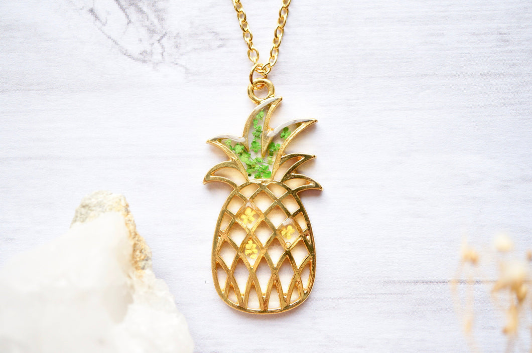 Real Pressed Flowers in Resin, Gold Pineapple Necklace in Yellow and Green