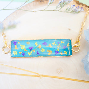 Real Dried Flowers and Resin Necklace, Blue Bar Gold Agate Geode in Purple Orange Yellow