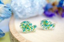 Real Pressed Flowers and Resin Fish Stud Earrings in Green Teal Mint