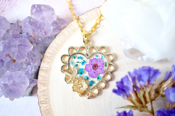 Real Pressed Flowers in Resin, Gold Heart Necklace in Teal and Purple