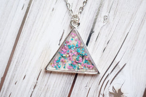 Real Pressed Flowers in Resin, SilverTriangle Necklace in Pink Teal White, Dried Flowers