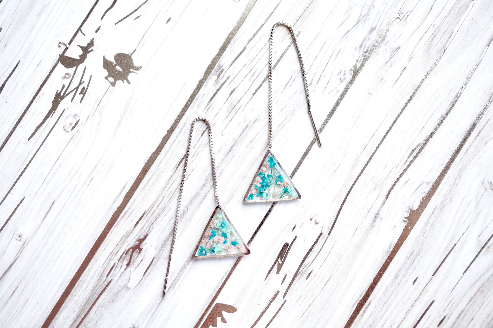 Real Pressed Flowers and Resin Threader Earrings, Silver Triangles in Mint Teal Light Pink