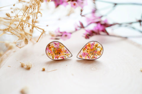 Real Pressed Flowers and Resin Stud Earrings, Silver Teardrops in Pink Orange Yellow