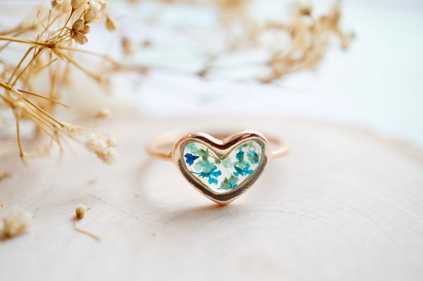 Real Pressed Flower and Resin Ring, Rose Gold Heart in Teal Mint