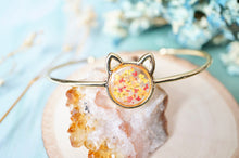 Real Pressed Flowers and Resin Bracelet, Gold Cat in Red Orange Yellow
