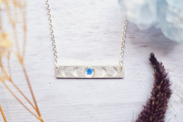 Real Pressed Flowers in Resin, Silver Moon Necklace in Blue, Celestial Jewelry, Celestial Necklace, Moon Phase