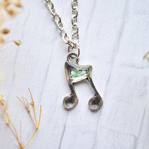 Real Pressed Flowers in Resin, Silver Music Note Necklace in Mint