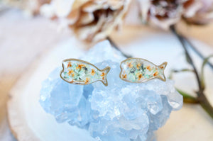 Real Pressed Flowers and Resin, Fish Stud Earrings in Yellow and White