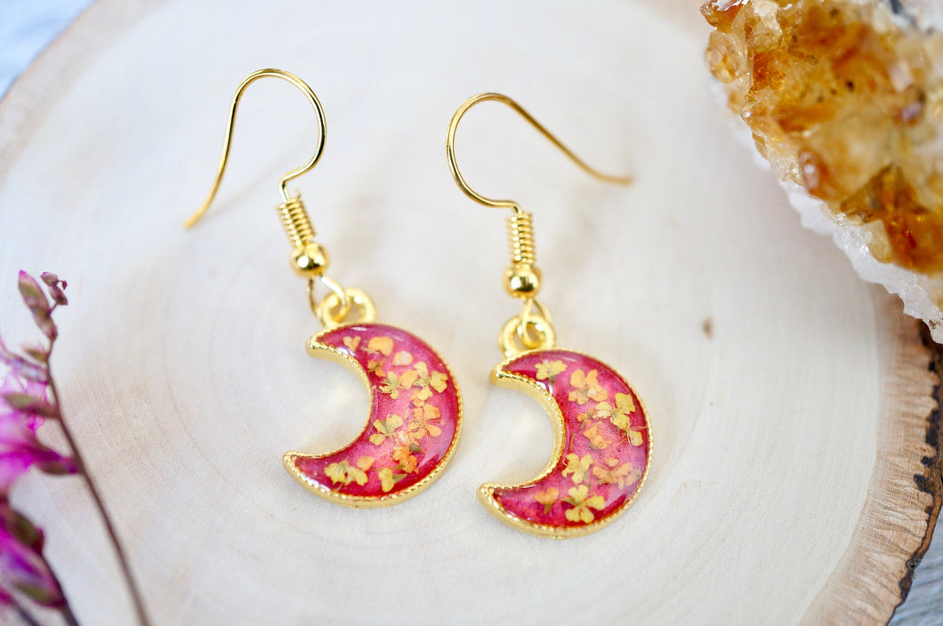 Real Pressed Flowers and Resin Dangle Earrings, Gold Moons in Pink Orange Yellow