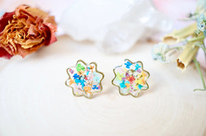 Real Pressed Flowers and Resin Flower Stud Earrings in Party Mix