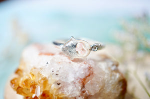 Real Pressed Flower and Resin Ring, Silver Pig in Light Pink