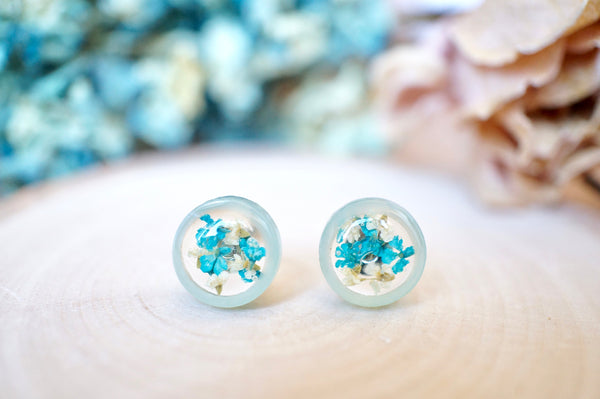 Real Pressed Flowers and Resin, Circle Stud Earrings in Mint and Teal