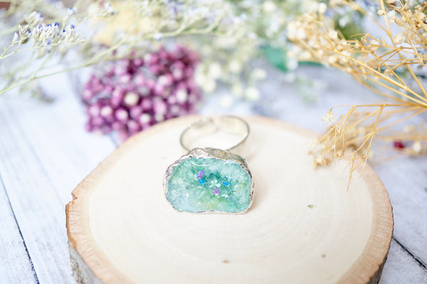 Real Pressed Flower and Resin Ring, Geode Druzy Silver Ring in Mint Purple Blue
