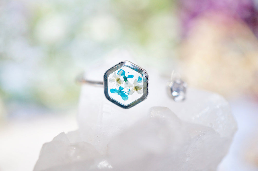 Real Pressed Flower and Resin Ring, Silver Hexagon in Teal and White