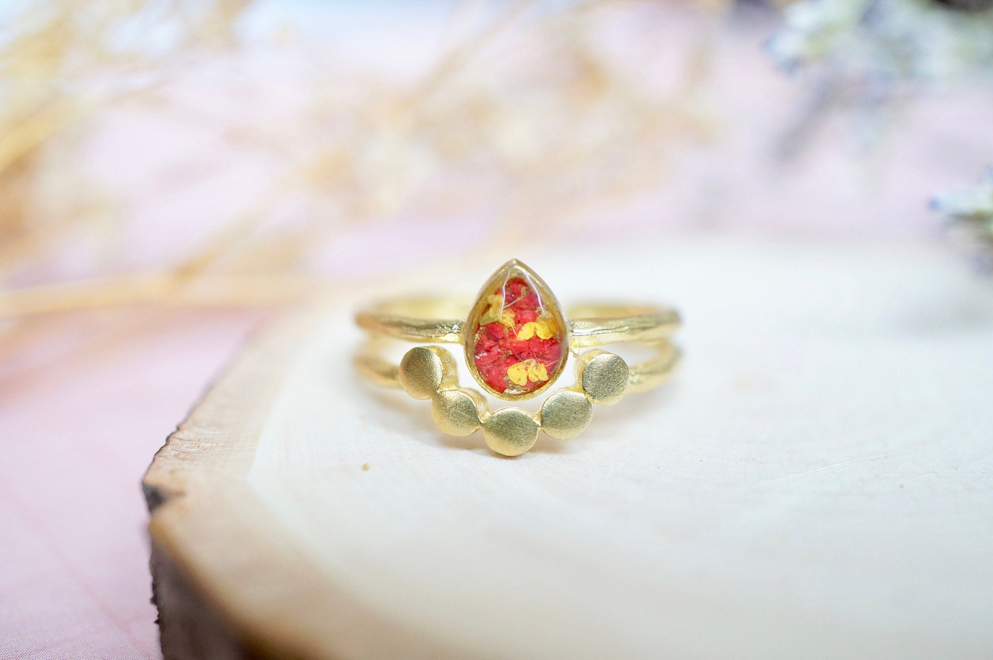 Real Pressed Flower and Resin Ring, Gold Teardrop in Red and Yellow