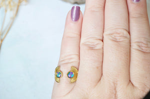 Real Pressed Flower and Resin Ring, Gold Sun in Teal and Purple