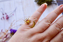 Real Pressed Flower and Resin Ring, Gold Celestial Moon and Sun in Orange Yellow Red Pink