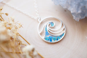 Real Pressed Flowers in Resin, Silver Circle Wave Necklace in Teal and Blue
