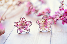 Real Pressed Flowers and Resin Stud Earrings, Silver Flowers in Pink White