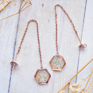 Real Pressed Flowers and Resin Threader Earrings, Rose Gold Hexagon in Mint and Light Pink