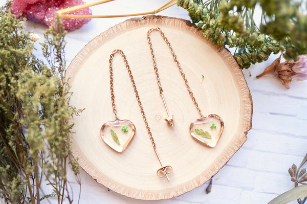 Real Pressed Flowers and Resin Threader Earrings, Rose Gold Heart in Green