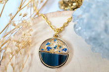 Real Pressed Flowers in Resin, Gold Necklace, Circle in Blue and Gold Flakes