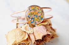 Real Pressed Flowers and Resin Bracelet in Rose Gold with Mint Blue Yellow Pink