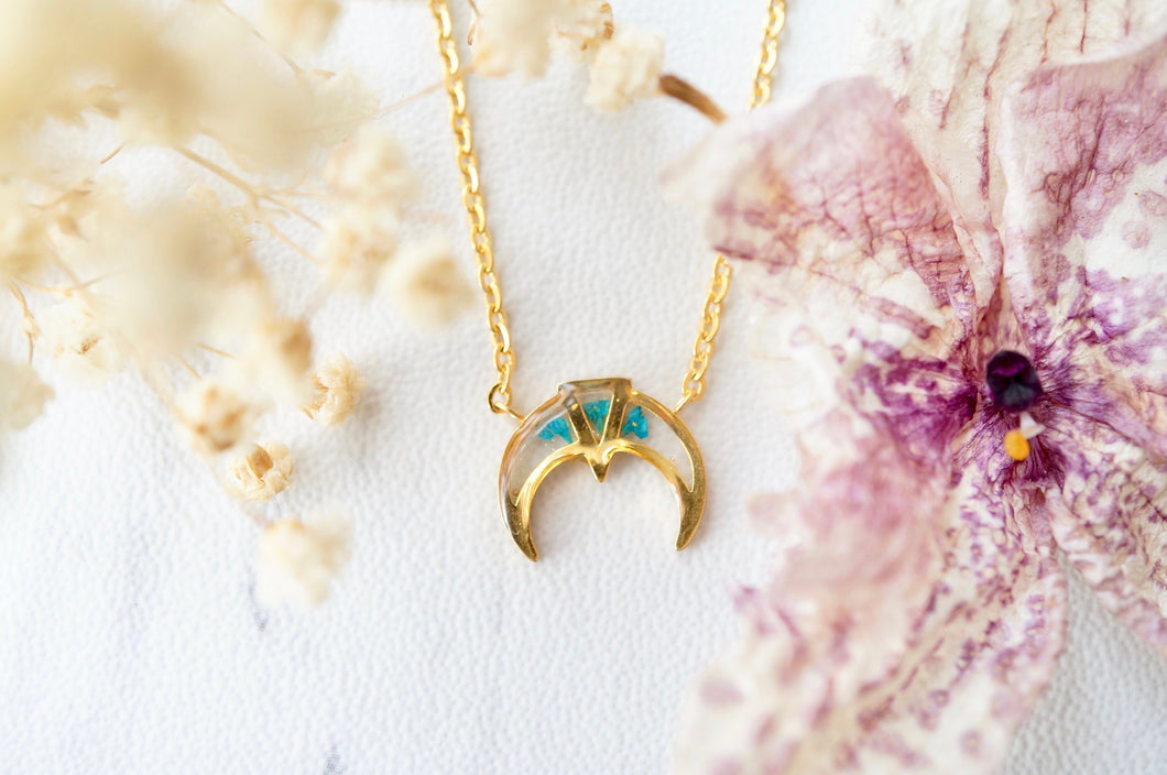 Real Pressed Flowers in Resin, Gold Tribal Necklace in Teal