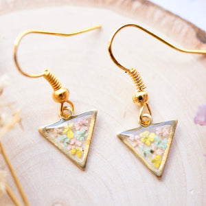 Real Pressed Flowers and Resin Drop Earrings, Gold Triangles in Yellow Mint Light Pink