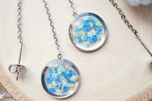 Real Pressed Flowers and Resin Threader Earrings, Silver Circles in Mint and Blue