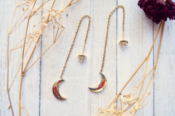 Real Pressed Flowers and Resin Threader Earrings, Gold Moons in Red