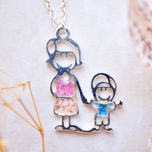 Real Pressed Flowers in Resin, Silver Mothers Day Necklace in Pink and Blue - Mom and Child