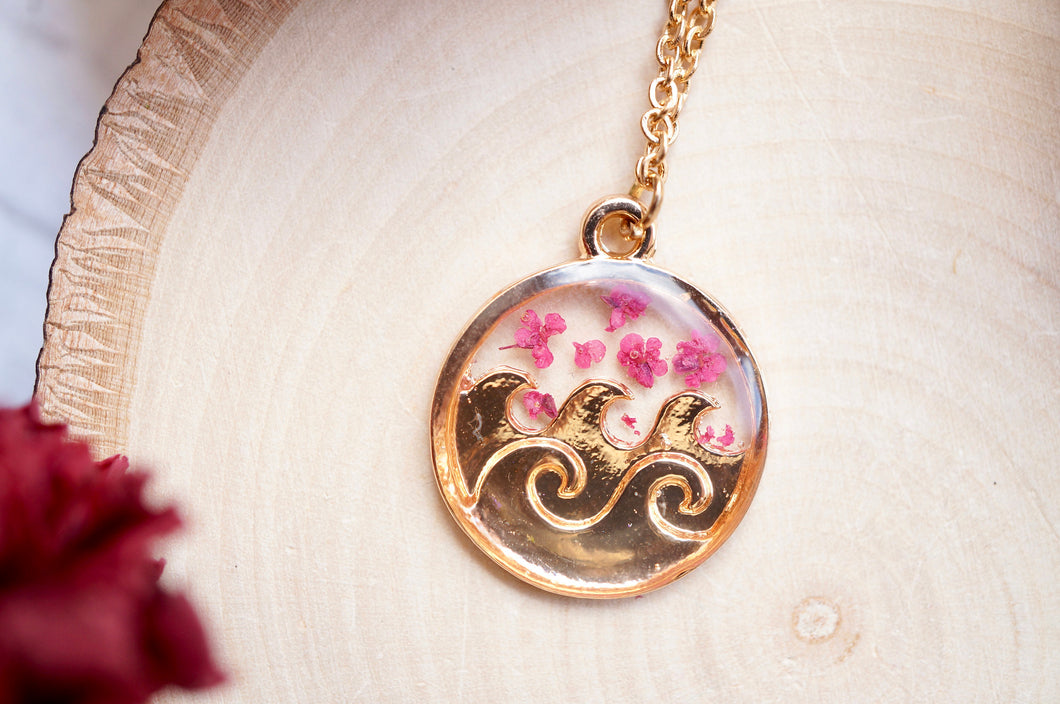 Real Pressed Flowers in Resin, Gold Circle Wave Necklace in Burgundy