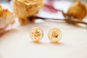 Real Pressed Flowers and Resin, Circle Stud Earrings in Orange