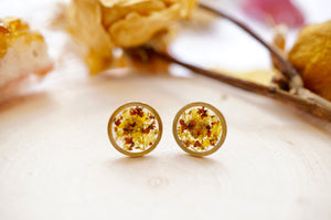 Real Pressed Flowers and Resin Stud Earrings, Raw Brass Circle in Yellow and Brown