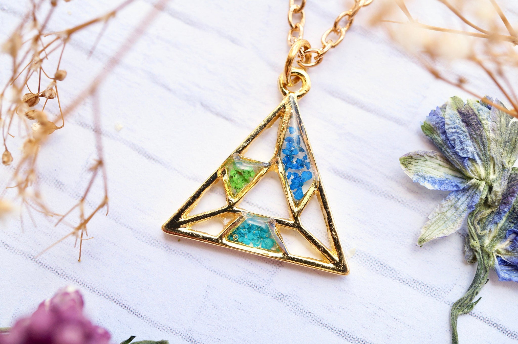 Real Pressed Flowers in Resin, Gold Triangle Necklace in Teal Green Blue