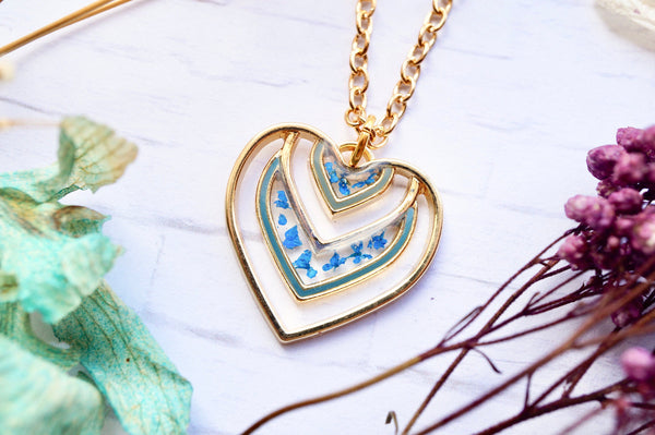 Real Pressed Flowers in Resin, Gold Heart Necklace in Blue